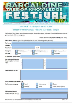 Barcaldine Tree of Knowledge Festival - Outback talent quest nomination form
