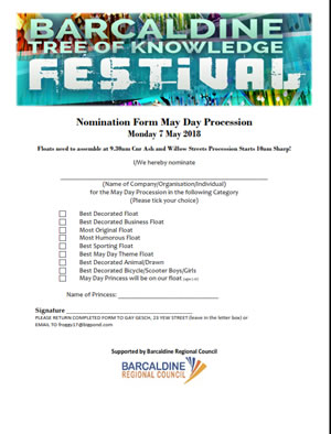 Barcaldine Tree of Knowledge Festival - May Day parade nomination form